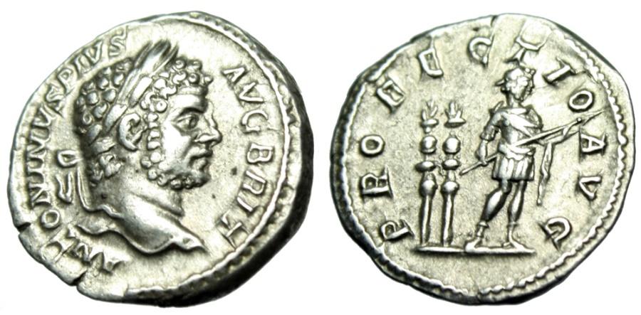 """Ancient Coins - Caracalla Silver Denarius """"PROFECTIO AVG Emperor by Standards"""" Rome RIC 225 gVF"""
