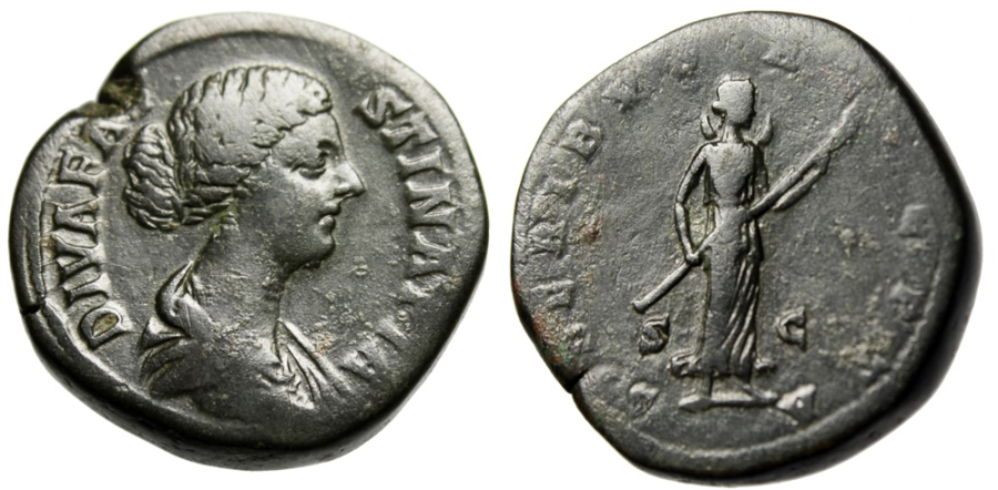 """Ancient Coins - Faustina II Posthumous Sestertius """"SIDERIBVS RECEPTA Received by the Stars"""" Rome"""