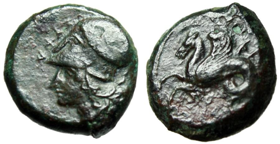 """Ancient Coins - Sicily, Syracuse AE Hemilitron """"Helmeted Athena & Hippocamp"""" VF"""