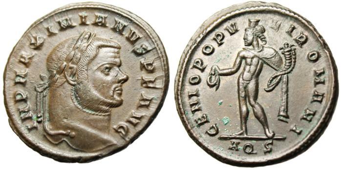 """Ancient Coins - Maximian AE Follis """"Genius"""" Aquileia Mint RIC 23b EF"""