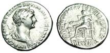 """Ancient Coins - Trajan Silver Denarius """"PARTHICO PM TR P COS VI PP SPQR Salus Seated"""" RIC 370 VF"""