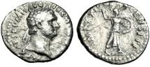 "Ancient Coins - Domitian Silver Denarius ""Minerva Brandishing Spear & Shield"" Rome 89 AD RIC 685"