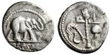 """Julius Caesar AR Denarius """"War Elephant & Pontifical Tools"""" Italy 49 BC gVF"""