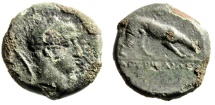 """Ancient Coins - Sicily, Agyrion AE18 """"Herakles & Panther Devouring Prey"""" 4th Century BC Rare"""