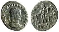 "Ancient Coins - Galerius AE Follis ""GENIO AVGVSTI Genius"" Thessalonica RIC 30a Budget Piece"