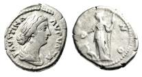 "Ancient Coins - Faustina II (Wife of Marcus Aurelius) Silver Denarius ""Juno, Peacock"" RIC 688"