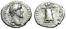"""Ancient Coins - Antoninus Pius AR Denarius """"ANNONA AVG Modius, Grain & Poppy"""" RIC 62 Good Fine"""