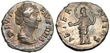 """Faustina Sr. Posthumous Denarius """"AETERNITAS Providentia"""" EF Lovely Irridescent Toning!"""