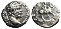 """Ancient Coins - Septimius Severus Silver Denarius """"PROFECTIO AVG Emperor on Horse"""" RIC 91 VF"""