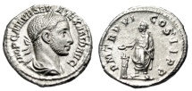 "Ancient Coins - Severus Alexander Silver Denarius ""Emperor at Altar"" Rome RIC 70 Scarce gVF"