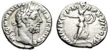 "Ancient Coins - Commodus Silver Denarius ""Minerva, Shield & Branch"" Rome 190 AD RIC 222a nVF"