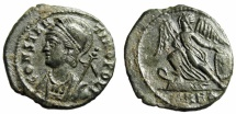 """Ancient Coins - Constantinople City Commemorative AE3 """"Victory on Prow"""" Heraclea RIC 115 VF"""