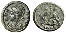 """Ancient Coins - Rome City Commemorative AE3 """"She Wolf, Twins, Three Dots"""" Heraclea RIC 129 Rare"""