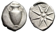 "Ancient Coins - Illyria, Corcyra AR Hemidrachm ""Amphora & Eight Ray Star, Crescent"" gVF Rare"