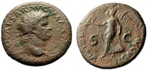 """Ancient Coins - Nero Dupondius """"VICTORIA AVGVSTI Victory"""" Lyons 66 AD RIC 522 About Fine"""