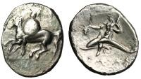 "Ancient Coins - Calabria Tarentum Silver Stater ""Horseback, Star Shield / Dolphin Rider"" Rare"