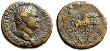 """Ancient Coins - Titus Orichalcum Sestertius """"Emperor, Chariot Quadriga"""" Judea Capta RIC 498 Rare"""