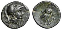 "Ancient Coins - Attica, Athens AE 16 ""Helmeted Athena & Owl Facing, Wreath"" Very Rare Good VF"