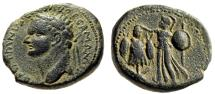 "Ancient Coins - Domitian AE24 ""Athena Supporting Trophy"" Judea Caesarea Judaea Capta VF"