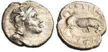 "Ancient Coins - Lucania, Thourioi Silver Diobol ""Athena & Bull Grape Cluster"" BMC 117 Rare"