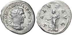 "Ancient Coins - Philip I AR Antoninianus ""Portrait & Salus Feeding Snake"" Rome 244 AD VF"