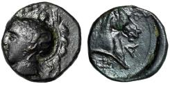 "Ancient Coins - Thessaly, Pharsalos AE Chalkous ""Athena Left & Head of Horse"" Near EF"