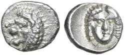"Ancient Coins - Satraps of Caria: Hekatomnos AR Tetartemorion ""Roaring Lion & Apollo Facing"" EF"