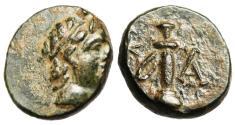 "Ancient Coins - Caria, Kaunos AE12 ""Apollo & Sword in Sheath"" BMC 17 Rare nEF"
