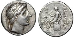 "Ancient Coins - Seleukid Kingdom: Antiochos I Soter AR Tetradrachm ""Apollo Testing Arrow"" nVF"