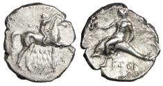 "Ancient Coins - Calabria, Tarentum AR Nomos (Didrachm) ""Youth on Horse & Dolphin"" VF"