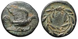 """Ancient Coins - Sikyonia, Sikyon AE Dichalkon """"Dove Flying & Wreath, KLE"""" Scarce Extremely Fine"""