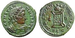 "Ancient Coins - Constantine I The Great AE19 ""Altar & Globe, Three Stars"" Lugdunum (Lyon) EF"