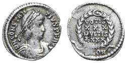 "Ancient Coins - Constantius II AR Siliqua ""VOTIS XXX MVLTIS XXXX Wreath"" Arles RIC 207 VF"