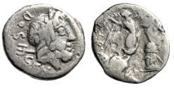 """Ancient Coins - L Rubrius Dossenus AR Quinarius """"Neptune, Trident / Victory, Altar"""" 87 BC Fine"""