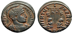 "Ancient Coins - Constantine I The Great ""VIRTVS EXERCIT Captves, VOT XX"" Aquileia RIC 48 Desert Patina gVF"