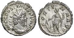 "Ancient Coins - Postumus AR Antoninianus ""FORTVNA AVG Fortuna"" Treveri RIC 60 Good VF"
