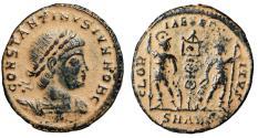 "Ancient Coins - Constantine II Caesar ""GLORIA EXERCITVS Soldiers"" Antioch Desert Patina RIC 109"