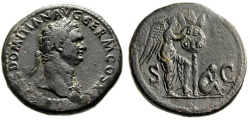 "Ancient Coins - Domitian AE Sestertius ""Victory, DE GER Germania, Trophy"" RIC 405 Very Rare gVF"