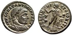 "Ancient Coins - Constantine I The Great AE20 ""SOLI INVICTO COMITI Sol"" Arles RIC 76 Silvered"