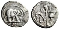 """Ancient Coins - Julius Caesar AR Denarius """"War Elephant & Pontifical Tools"""" Italy 49 BC gVF"""