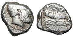 """Ancient Coins - Phoenicia, Arados AR Shekel """"Ba'al Arwad & Galley on Waves"""" 420-400 BC"""