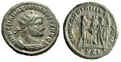 """Ancient Coins - Maximianus Herculius AE Antoninianus """"CONCORDIA MILITVM"""" Heraclea RIC 595 VF"""