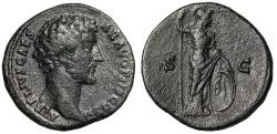 "Ancient Coins - Marcus Aurelius as Caesar AE Sestertius ""Minerva With Spear & Shield"" RIC 1248"