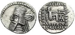"Ancient Coins - Kingdom of Parthia: Artabanos IV AR Drachm ""Arsakes Archer"" 80-90 AD EF"