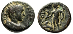 "Ancient Coins - Gordian III AE20 of Berytos, Phoenicia ""Radiate & Dionysos, Panther"" Good Fine"