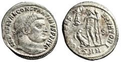 "Ancient Coins - Constantine I The Great Silvered Follis ""Jupiter, Eagle"" Nicomedia Rare EF"