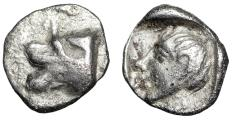 "Ancient Coins - Caria, Knidos AR Tetartemorion ""Forepart Lion & Young Male Head"""