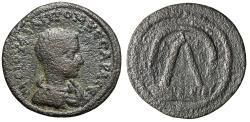 "Ancient Coins - Philip II Caesar AE28 of Tarsus, Cilicia ""Pyramidal Monument, Sandan"" Very Rare"