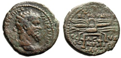 "Ancient Coins - Septimius Severus AE23 ""Thunderbolt on Stool"" Syria, Seleukia Pieria Very Rare"
