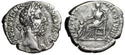 "Ancient Coins - Commodus AR Denarius ""Pietas Seated, Child at Feet"" Rome 192 AD RIC 236 VF"